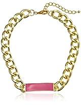 "Gold Chain Enamel Bright Pink Identification Statement Necklace, 16"""