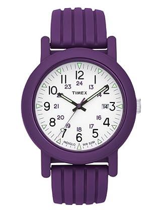 Timex T2N716. Reloj de Señora movimiento de cuarzo con correa de caucho Morado