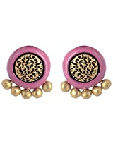 Scorched Earth Pink & Gold Terracotta Stud Earrings for Women