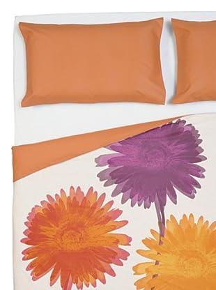 Cartoons Home Parure Copripiumino Flowers (arancione/viola)
