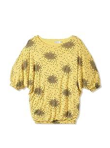 eggi kids Girl's Printed Winged Top (Lemon Drop/Heart Spray)