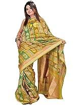 Exotic India Palm-Green Banarasi Jamdani Saree with Woven Floral Motifs - Green