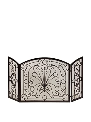 Scroll Patterned Iron Fire Screen
