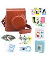 CAIUL 9 in 1 Fujifilm Instax Mini 8 Accessories Bundle(Brown 2nd Generation Mini 8 Case/Mini Album/selfie Lens/4 colors Close-Up Lens/3 inch Frame/Wall Hang Frame/Film & Camera Sticker/Film Pouch)