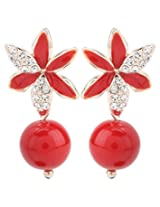 Jewel Touch Red Metal Earring for Women (JWLY50435ER)
