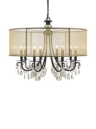Gold Coast Lighting English Bronze Chandelier Accented with Etruscan Smooth Oyster Crystals