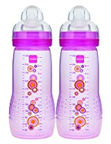 MAM Baby Bottle, Pink, 11 Ounce, 2-Count
