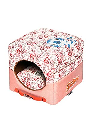 Touchdog Floral-Galore Convertible/Reversible Squared 2-in-1 Collapsible Dog House Bed, Red/Salmon Pink