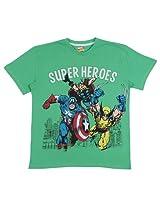 Bio world Boys' Round Neck Batman Tween Cotton Half Sleeve T-Shirt Light Green [8903346241989] -(9-10 years )