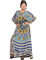 Exotic India Kaftan with Printed Elephants and Dori at Waist - Color Blue And YellowGarment Size Free Size