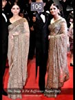 Indian Bollywood Designer Aishwarya Rai Net Cans Saree