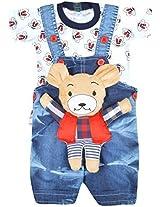 Kuchipoo Baby Dungaree Set With T-Shirt (Kuc-Dun-103, Blue and White, 3 Months-6 Months)