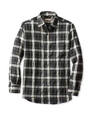 Natural Blue Men's Plaid Long Sleeve Shirt (Black)