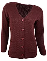 Casanova Women's Long Sleeve Cardigans (531, Dark Maroon, L)