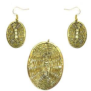 Daamak Jewellery Oval Shape Pendant Set jewellery Set