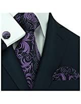 Landisun 309 Dark Purple Black Paisleys Mens Silk Tie Set: Tie+Hanky+Cufflinks
