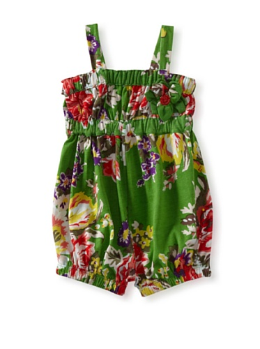 Baby Nay Woven Balloon Romper (Emerald Rose)