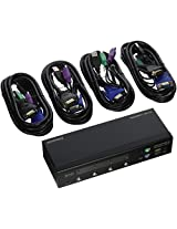 Monoprice 103406 4-Port USB PS2 Combo KVM Switch with Cables - Retail (103406)