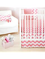 New Arrivals Zig Zag Baby 2 Piece Crib Bedding Set, Hot Pink