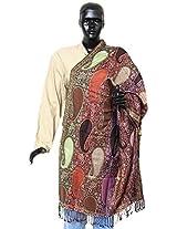 DollsofIndia Women's Kashmiri Woolen Stole with Multi-colored Motifs - Woolen - Multicolor