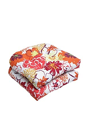 Pillow Perfect Set of 2 Outdoor Floral Fantasy Wicker Seat Cushions, Raspberry