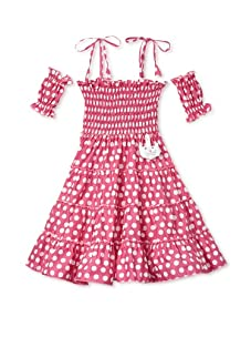 4EverPrincess Girl's Gipsy Dress with Sleeve (Hot Pink)