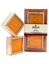 Arveda Wooden Candle (17.14 Cm X 9.25 Cm X 3.175 Cm, Beige/Bergamot Lavender)
