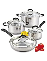 Cook N Home 8 Piece Stainless Steel Cookware Set with Encapsulated Bottom, Large, Silver