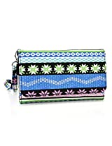 Kroo Paisley Designed Wristlet Clutch Wallet for 6-Inch Phones - Non-Retail Packaging - Blue and Pink