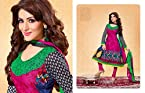 Multicolour Cotton with Print & Embroidery Work Unstitched Anarkali Salwar Kameez Suit
