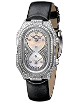 Philip Stein Womens 14PD-PDWB-IB Prestige Pave Stainless Steel Watch with Leather Band