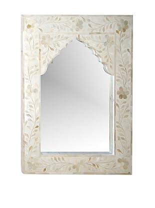 Mili Designs Small Arch Bone Inlay Mirror, White/White