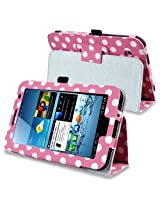 eForCity Leather Case with Stand for 7-Inch Samsung Galaxy Tab 2, Pink/White Polka (PSAMGLXTLC56)