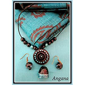 Angana Black & Blue Pendant Chain With Earring
