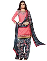Inddus Women Pink Embroidered Cotton Blend Dress Material