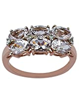Carillon India Morganite & Diamond Rose Gold Plating Natural Silver Ring (10.0)