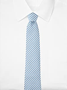 Aquascutum Men's Narrow Stripe Silk Tie (Light Blue/White)