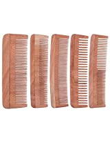 TULIR Neem Wood Comb, Combo of 5 (4 - 7 Inches)
