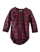 Oshkosh Girls Red/Navy Plaid Poplin Long Sleeve Henley Bodysuit