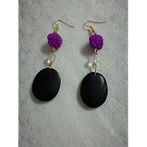 Knickknack Vintage Purple Rose Earrings