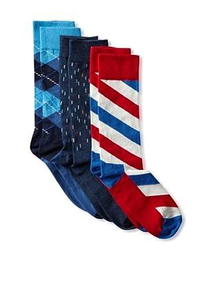 Happy Socks Men's Multi Socks (3 Pairs) (Red/White/Blue)