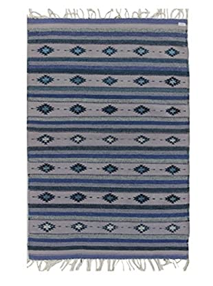 Bashian Rugs Hand Knotted One-of-a-Kind Sino-Kilim Rug, Light Blue, 4' x 6'