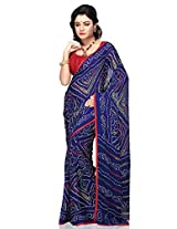 Utsav Fashion Women's Dark Blue Faux Georgette Saree with Blouse