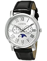 Geneva Men's FMDJM529 Stainless Steel Watch with Black Leather Band