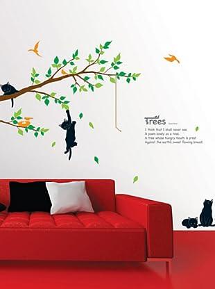 Vinilo Árboles y gatos Multicolores