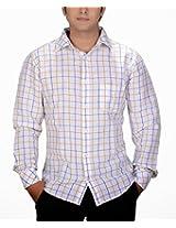 SPEAK Trendy Lemon Yellow Blue Line Checks on White Shirt