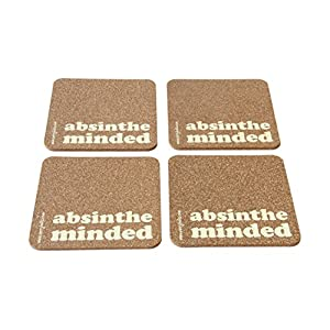 Verry India ABSINTHE MINDED - Set of 4 coasters ( Cork )