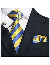 "Landisun Stripes Mens Silk Tie Set: Tie+Hanky+Cufflinks 536 Gold Blue, 3.75""Wx66""L"