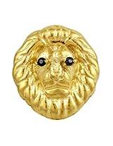 Exxotic Designer Fashion 24k Gold Plated Leo Head Brooch For Men & Women