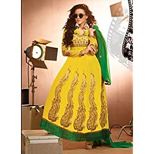 Semi Stitched New Defuse Fashion Yellow Anarkali Suit